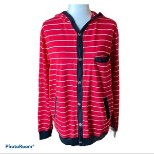 Crooks & Castles striped button up cardigan w/hood